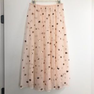 Free People Pink Sequin Polka Dot Sheer Mesh Skirt